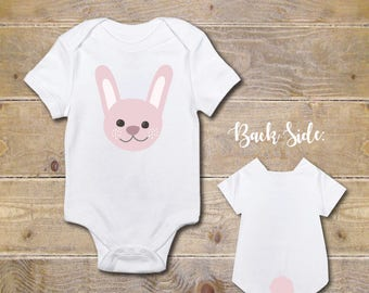 Bunny Onesie, Rabbits, Bunnies, Animals, Baby Shower Gift, Baby Clothes, Shirt, New Baby Gift, Baby Boy, Baby Girl, Butt, Design on Butt