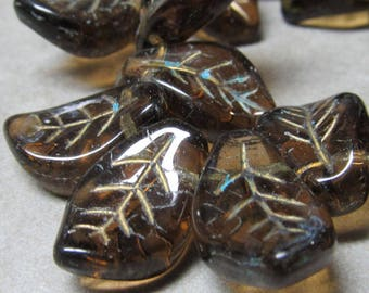Czech Glass Beads 14 x 9mm Shiny Semi Translucent Etched Cocoa Brown-Gold Etched  Leaves  - 12 Pieces