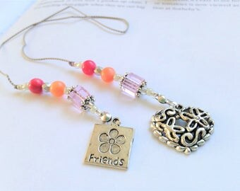 Friendship Beaded Book Thong Bookmark Girlfriend Gift Jeweled Pink Coral Silver with Pewter Friendship Charm and Flowered Heart Charm