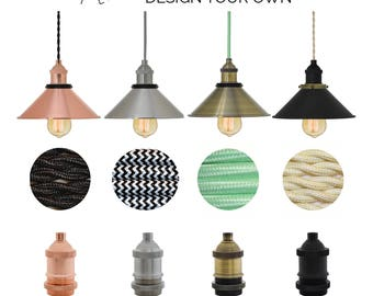 Design Your Own Shade Pendant Light - Mix and Match - Nickle, Black, Copper, Antique - Any color cord custom industrial pendant lighting