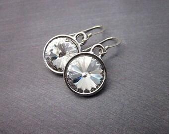 Crystal Clear Drop Earrings -- Silver & Clear Crystal Earrings -- Clear Swarovski Dangle Earrings -- Clear Sparkling Earrings --Simple Clear