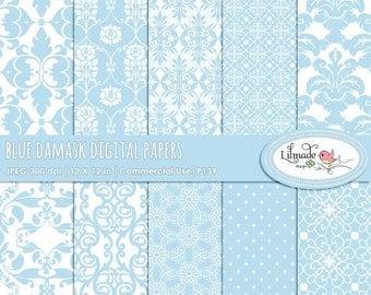 65%OFF SALE Damask digital papers, baby blue damask, damask scrapbook papers, vintage digital paper, vintage damask, P139