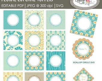 50%OFF Floral cupcake toppers, editable PDF cupcake toppers, Svg scallop circle, Svg scallop square, party printables, Pr77