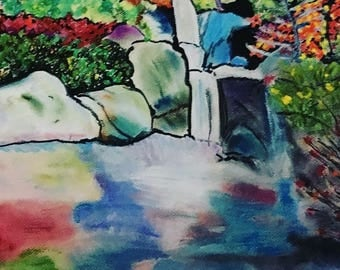 Giclee Print From Original Pastel-The Waterfall-Neo Impressionism-Abstract Landscape