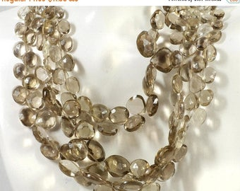 ON SALE Smoky Quartz Beads Faceted Hearts Flat Teardrops Light Taupe Color Earth Mined Gemstone - 4 Inches - 7x6 to 9x9mm - About 20 Beads