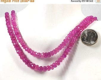 ON SALE Pink Sapphire Beads Faceted Pink Sapphire Rondelles Rondels Roundels Earth Mined Precious Stone - 3 to 5mm - You Choose Length