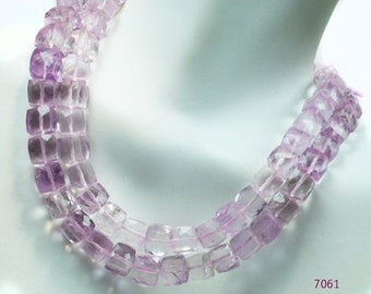ON SALE Pink Amethyst 3D Cubes Faceted Box Beads Amethyst Cubes Earth Mined Gemstone - 14 Beads - 5.5 to 6.5mm