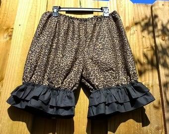 Animal print pantaloons knee length bloomers with black ruffles XL ready to ship