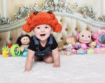 Cabbage Patch Kids Crochet Hat ,Size 0-12 Months,Custom Made