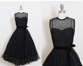 25% OFF SALE Vintage 50s Dress | vintage 1950s dress | black ribbon tulle party dress | xs | 5830