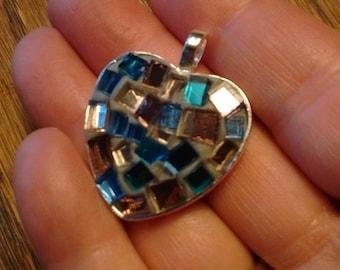 Mosaic pendant - pendant - mirror - mosaic art - mosaic lover gift - purple lover - glass art gift - pink - blue gift