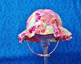Baby Girl Sun Hat Pink and Colorful Flowers with Chin Straps