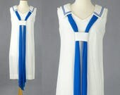 Vintage 1960s Sailor Dress, 60s Dress, White Linen Day Dress with Blue Chiffon, Parade New York