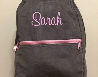 Monogrammed GRey Cordouroy backpack