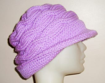 Hand knit hat for women's hat with brim winter hat in lavender purple - Valentine's gift for women