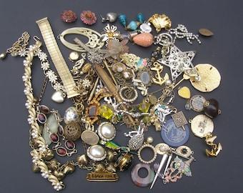 Jewelry Repair Lot, Jewelry Craft lot, Vintage Jewelry Destash, Vintage Findings, Wear Repair Lot, Jewelry Repurposing