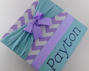 Baby Memory Book Girl Baby Book Girl Baby Album Personalized Baby Book Baby Pregnancy Journal Baby shower book Baby Gift Purple Teal Chevron