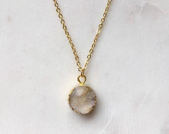 White Druzy Necklace - Druzy Pendant Necklace - Gold Long Necklace - White Stone Necklace