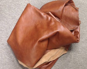 6-897.  Butter Rum Leather Cowhide Remnants