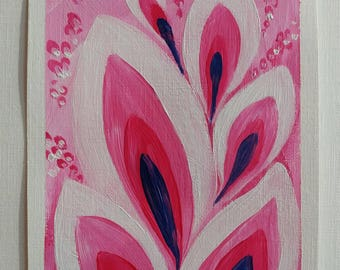 "Pink abstract botanical 4.5×6"" original painting"