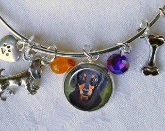 Black and Tan Doxie Charm Bracelet ~ Pet Keepsake ~ Dog Charm Bracelet ~ Wire Bangle ~ Dachshund Bracelet ~  Doxie Lover Birthday