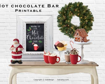 Hot Chocolate Bar Printable home decor-INSTANT DOWNLOAD Printable PDF - Christmas Holiday Party Printable