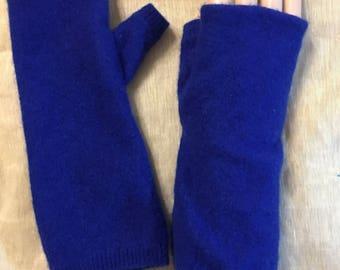 D68  royal blue Cashmere arm warmer Fingerless Gloves upcycled Cashmere fingerless Mittens boy girl Wrist Warmer