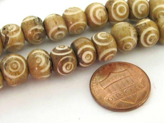 10 BEADS - Brown color Tibetan eye prayer mala bone beads  - HB056B