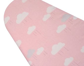 PADDED Ironing Board Cover made with Riley Blake When Skies are Gray pink with white clouds, select the size