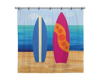 Shower Curtain For Kids Bathroom From Hand Painted Images   Surf Boards On  The Beach Tropical