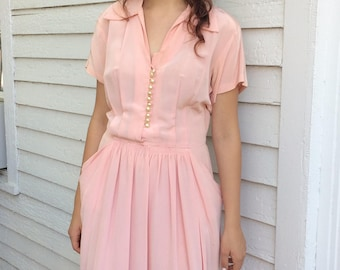 Vintage 40s Salmon Pink Dress Short Sleeve 38 Bust 32 Waist AS IS