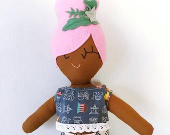 Maude the Mod Mermaid Cloth Rag Doll - Brown Skin Doll with Pink Bun - Ready to Ship