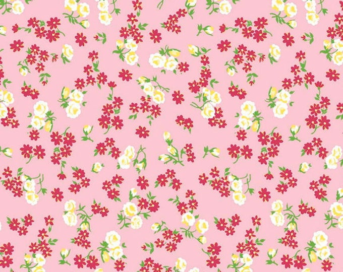 Dainty Darling Fabric by Lindsay Wilkes from The Cottage Mama for Riley Blake Designs and Penny Rose Fabrics - Pink Floral