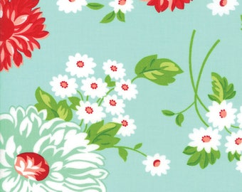 Floral Scrumptious Aqua from Good Life Collection by Bonnie and Camille for Moda Fabrics