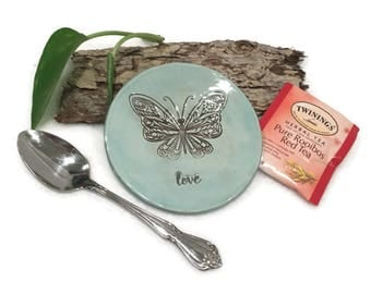 Butterfly Spoon Rest / Jewelry Dish - Light Blue and Brown - Ready to Ship