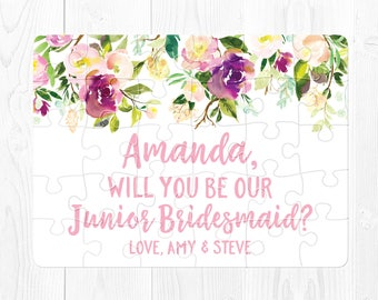 Junior Bridesmaid Proposal Puzzle Junior Bridesmaid Puzzle Proposal Will You Be Our Junior Bridesmaid Be My Junior Bridesmaid Purple Pink