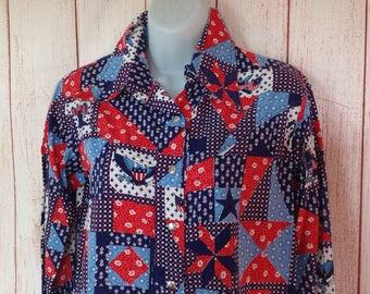 Vintage 80s Red White Blue Patriotic SNap Western Shirt Long Sleeve Ladies Small S