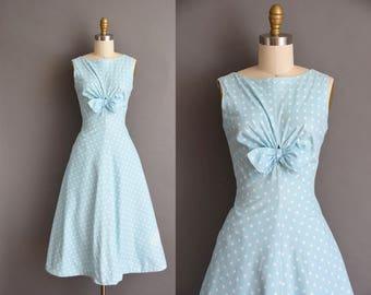 vintage 1950s dress. 50s baby blue polka dot soft cotton full skirt vintage dress