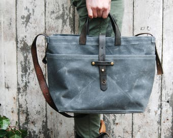 Canvas Tote Bag in Slate, Waxed Canvas Crossbody Bag, Waxed Canvas Diaper Bag, Waxed Canvas Handbag, Waxed Canvas Purse, Crossbody, Her TT16