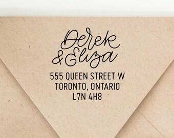 Custom Modern Calligraphy Return Address Stamp - Minimalist Wedding Return Address Stamp - Sarah Types Hand Lettering