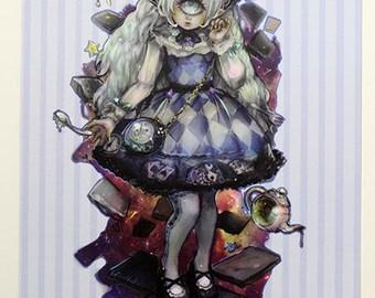 Plasticmoon Astraia in Wonderland Original Artwork Print, Cyclops Girl Print, Gothic Lolita Artwork, Cyclops Girl Art, Original Art Postcard