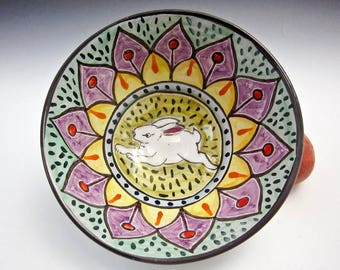 Medium Serving Bowl - Ceramic Pottery Bowl - White Rabbit - Mandala Pattern - Majolica Bowl - Wedding Gift for Her - Kitchen Bunny Bowl