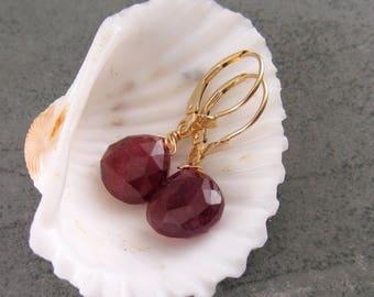 Rubellite tourmaline earrings in 14k solid gold-OOAK