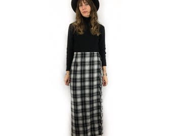 Vintage 90s wool plaid wrap blanket maxi skirt with tassel fringe // size 6