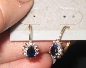 Dress Up Your Ear Diamond Sapphire 14k Yellow Gold  Earring