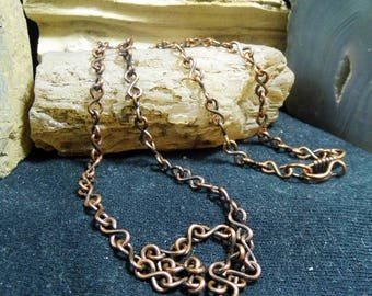 Antique Copper Necklace Link Chain 18 inch