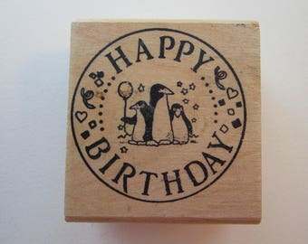 vintage rubber stamp - penguin Happy Birthday - Inkadinkado circa 1993