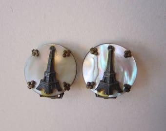 vintage Eiffel Tower PARIS souvenir earrings - clip earrings, Eiffel Tower on MOP