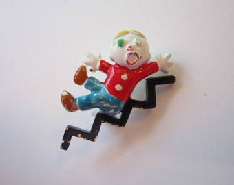 vintage Mr. Bill pin - Mr. Bill falling down stairs, vintage novelty pin
