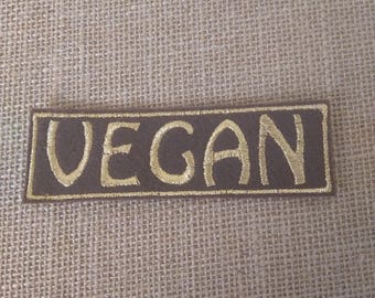 Metallic gold Vegan embroidered iron on patch